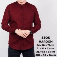 Kemeja Lengan Panjang Pria Merah Maroon Kerah Shanghai Polos Slimfit