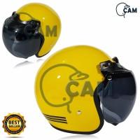 Helm Motor SNI Bogo List yellow + Kaca ava original bukan jpn retro