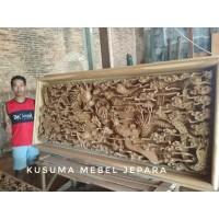 Hiasan Dinding Relief 3 Dimensi Naga Phoenix Kayu Jati (Panjang 250cm)