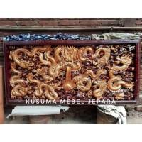 Hiasan Dinding Relief 3 Dimensi Motif 9 Naga Kayu Jati - Panjang 200cm