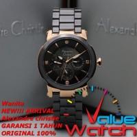 Jam Tangan Wanita Alexandre Christie AC 2517 Black Rosegold Original