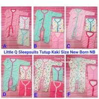 Little Q Set 3 Pcs Sleepsuits Tutup Kaki Size New Born Piyama Bayi