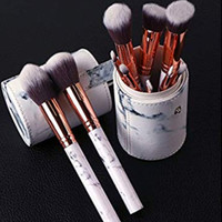 Makeup brush set with brush holder