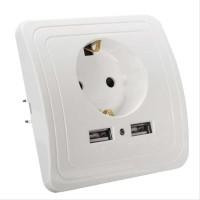 Stop Kontak Colokan Listrik elektronik Dinding Rumah EU Plug 2 USB