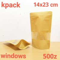 standing pouch ecopack window 14x23cm untuk kemasan kripik kemsn kopi