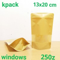 standing pouch kraft window 13x20 cm