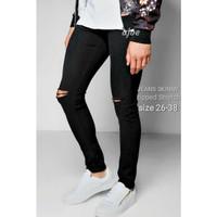 celana jeans pria / celana rippped pria / celana sobek lutut hitam