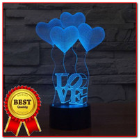 3d Led Illusion Lamp 4 Baloons Love lampu dfekorative dengan 7 warna