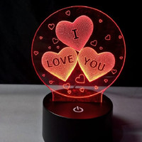 3d Led Illusion Lamp I Love You lampu decorative 7 warna cocokutk kado