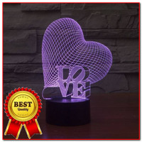 3d Led Illusion Lamp Love lampu Decorative 7 warna cocok utk kado