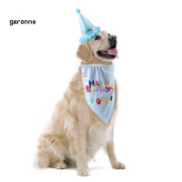 GA_Pet Dog Puppy Birthday Hat Cap Saliva Bib Towel Set Party Costume