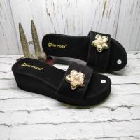 sandal wedges spon wanita terbaru/sandal wanita cantik/hitam