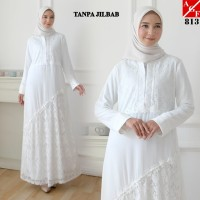 AGNES Baju Gamis Putih Wanita Baju Umroh Gamis Syari Syari Pesta #813