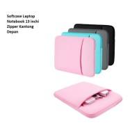 SCL03 Softcase Laptop Notebook 13 inchi Zipper Kantong Depan - BLUE
