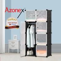 Lemari Plastik Lemari Pakaian Portable Baju Buku 8 Pintu Black Azonex