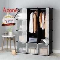 Lemari Plastik Pakaian Portable Rak Baju 12 Pintu Hitam Azonex