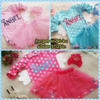 Baju Anak Bayi Perempuan Jumper Setelan Rok Tutu Angel Pompom