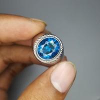 Cincin Batu Permata Blue Topaz London