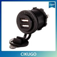 Socket Charger Dual USB 2.1 Amp Panel Mount untuk Motor Kugo