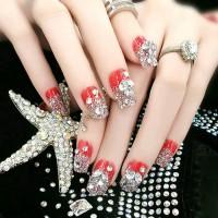 wedding fake nail red diamond rhinestone/kuku palsu pernikahan merah