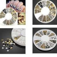 nail art metallic silver gold wheel