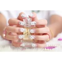 na036 - kuku palsu 3d/ nail art / silver fake nails wedding for bride