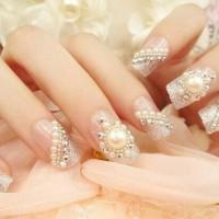 bridal fake nail kuku palsu wedding nail 3d pre glued