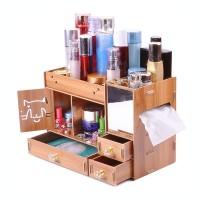 Rak Kosmetik Jumbo Portable Bahan Olahan Kayu Lengkap dengan Cermin