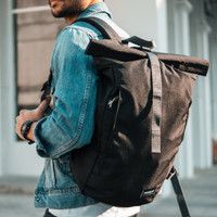 Lucerne Black Wanderlust | Rolltop Backpack Travelling Tas Ransel