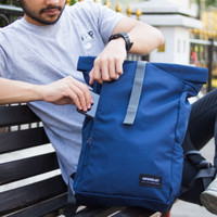 Lucerne Navy Wanderlust | Rolltop Backpack Travelling Tas Ransel
