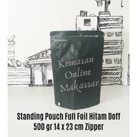 Standing Pouch Padat Zipper Hitam Doff 500 gr (14 x 23 cm)