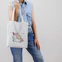 totebag unicorn tas belanja lipat tas blacu dan kanvas serbaguna