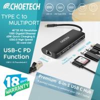 Type-C to HDMI LAN USB 3.0 SD Card Reader Charge CHOETECH HUB-M05BK