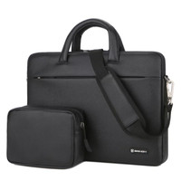Tas Laptop Selempang BRINCH leather with free pouch 15.6 inch - Black