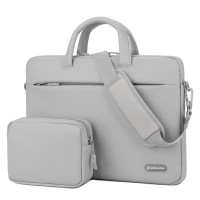 Tas Laptop Selempang BRINCH PU leather with free pouch 14 inch - Grey