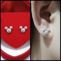 Giwang Mickey Perak 925 Lapis Emas Putih / Anting Tusuk Mickey / AT169