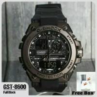 Free Box / JAM TANGAN GSHOCK CASIO GST 8600 FULL BLACK METAL ANTI AIR