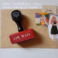 Wooden Stamp Handle AIR MAIL stempel surat kayu karet snailmail penpal