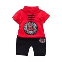 Baju bayi setelan chinese style red kece