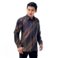 Kemeja Batik Pria Sogan Lengan Panjang Motif Parang Kencana
