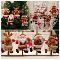 Ornamen Boneka Santa Claus / Snowman / Rusa untuk Dekorasi Natal