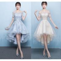 Gaun Pesta 1909011 Pink Putih Sabrina Lengan Pendek Party Dress Gown