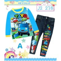 Piyama Anak Tayo The Little Bus Motif Jeans 8T-12T J2-278A