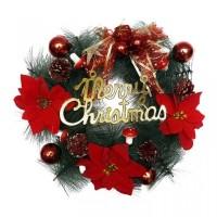 Hiasan Krans Natal Poinsettia / Gantungan Pintu Natal