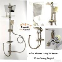Paket Shower Tiang Set 808WL + Kran Cabang X2 / Shower Mandi