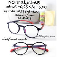 Frame kacamata Anak lentur Paket Lensa Minus Antiradiasi frame Bulat