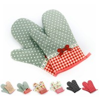 1Pc Dots Grids Print Oven Mitt Heat Resistant Protector Kitchen Holder
