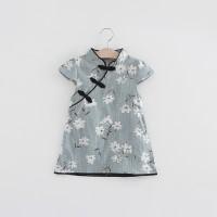 Baby Girls Dress Flower Print Chinese Vintage Cheongsam