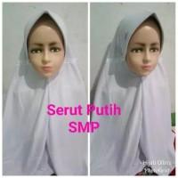 Jilbab Anak Kaos Super Sekolah Serut Putih SMP