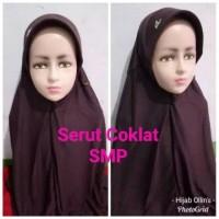 Jilbab Anak Kaos Super Sekolah Serut Coklat Pramuka SMP